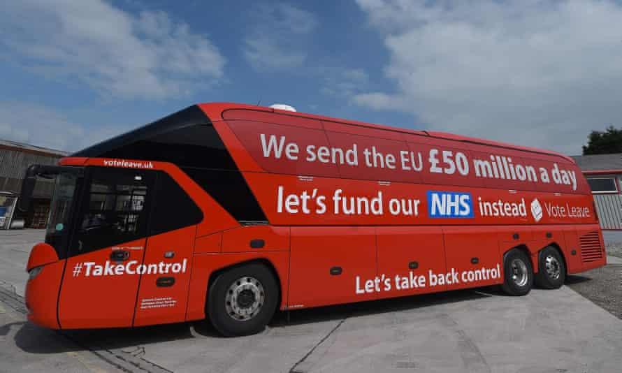 he Vote Leave battle-bus in Preston