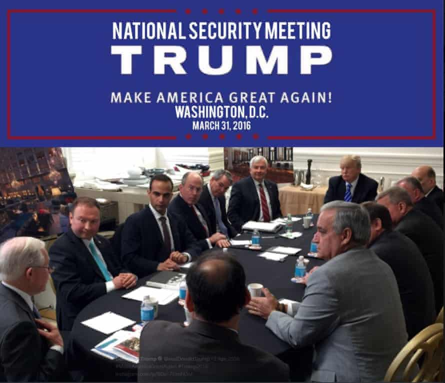 George Papadopoulos, third left, in a photograph released on Donald Trump's Instagram account.