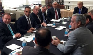 George Papadopoulos attends a campaign national security meeting in Washington on 31 March 2016.