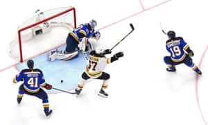 Patrice Bergeron celebrates his first-period goal as the Bruins make their way to a 5-1 win