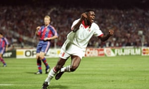 Marcel Desailly celebrates after scoring the fourth goal in the final.