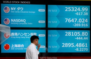 A display showing global markets at securities office in Tokyo, Japan.