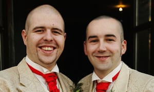 Henry Kane (right) and Chris Flanagan celebrate their civil partnership in Belfast in December 2005.