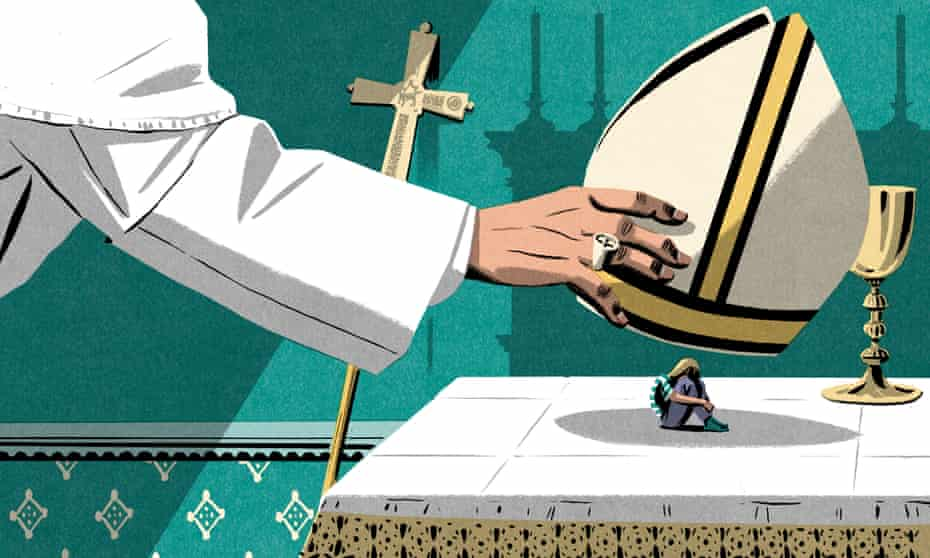 Illustration, of pope using his mitre hat to silence and bury abuse survivor, by Bill Bragg
