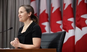 Chrystia Freeland, Canada's deputy prime minister, speaks in Toronto on 7 August.