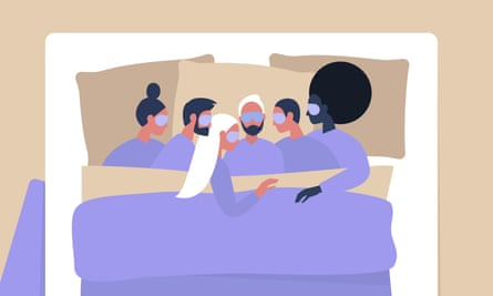 A cartoon of a diverse group of young people cuddling in bed