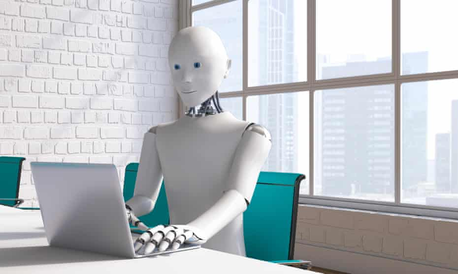 A robot sitting at a conference table using a laptop
