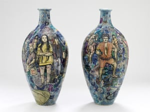 Matching Pair, two ceramic vases by Grayson Perry.