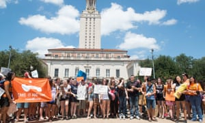 Students at a Cocks Not Glocks protest in Austin, Texas on 24 August 2016.