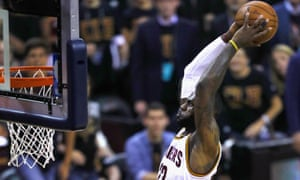 LeBron James dunks as Cleveland take the Warriors to Game 7.