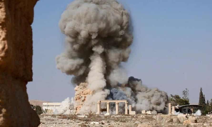 A photograph published by Isis of the destruction of the Temple of Bel in Palmyra, Syria
