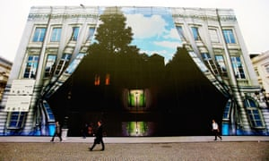 The Musée Rene Magritte, Brussels, covered with a hoarding, in 2008.