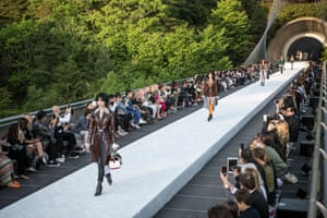 A Louis Vuitton event is held on the walkway to the largely subterranean Miho Museum in Koka, Japan.