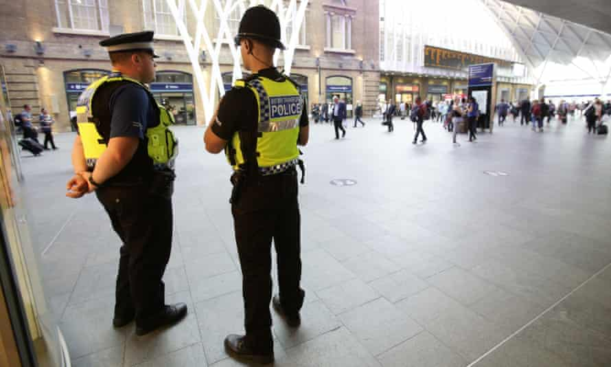 British Transport Police at King's Cross station, London