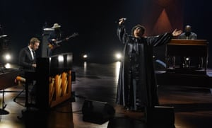 Chris Martin and Brittany Howard perform together during the in memoriam segment