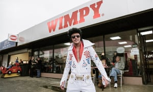 An Elvis impersonator at 'The Elvies', September 2017 in Porthcawl, Wales.
