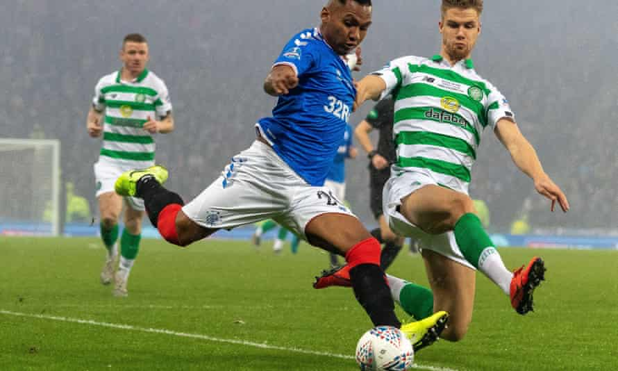 Alfredo Morelos in action for Rangers against Celtic in Scottish League Cup final