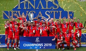 Saracens lift the European Champions Cup trophy after beating Leinster in the 2018-19 final.