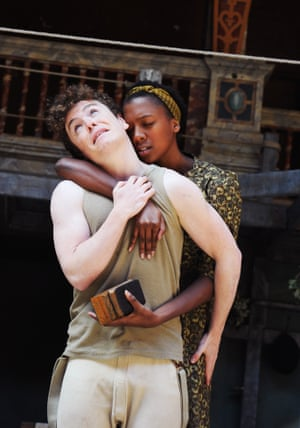 Joshua McGuire (Hamlet) and Jade Anouka (Ophelia) in a production by Dominic Dromgoole at Shakespeare's Globe in 2011.