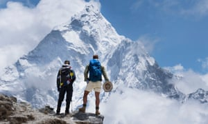 Pendleton and Fogle survey Ama Dablam on their route to Everest base camp