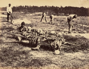 A Burial Party, Cold Harbor, Virginia, April 1865. This gruesome scene shows black men burying the decomposed remains of fallen Union soldiers from the June 1864 battles of Gaines' Mill and Cold Harbor