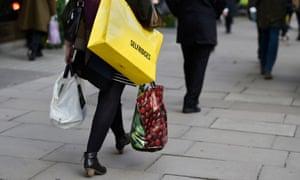 Woman shopping on Oxford Street, London