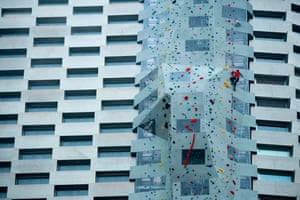 Copenhagen, Denmark. A climber scales the 85m wall at CopenHill