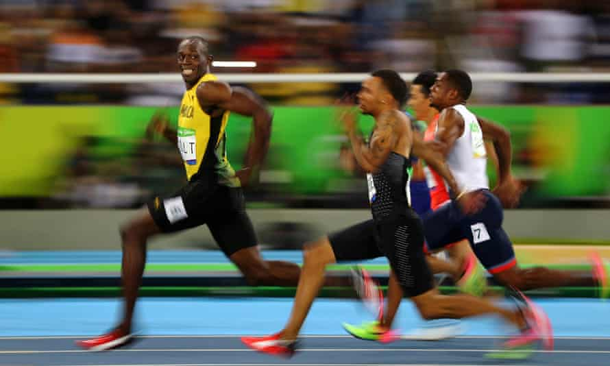 The Lightning Bolt in action: the Rio 2016 100m final