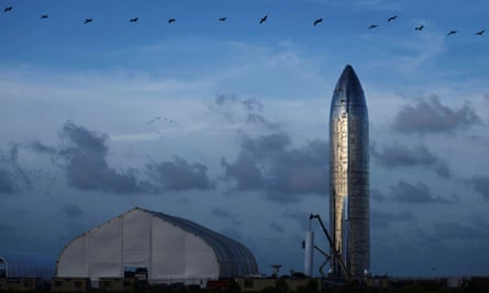 A prototype of SpaceX's Starship spacecraft is seen in Boca Chia, Texas, in September.