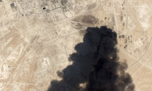 A satellite image showing thick smoke rising from the Saudi oil processing facility attacked at the weekend