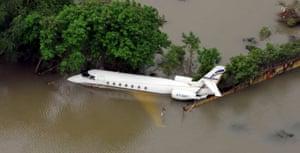 partially submerged aeroplane in Chennai
