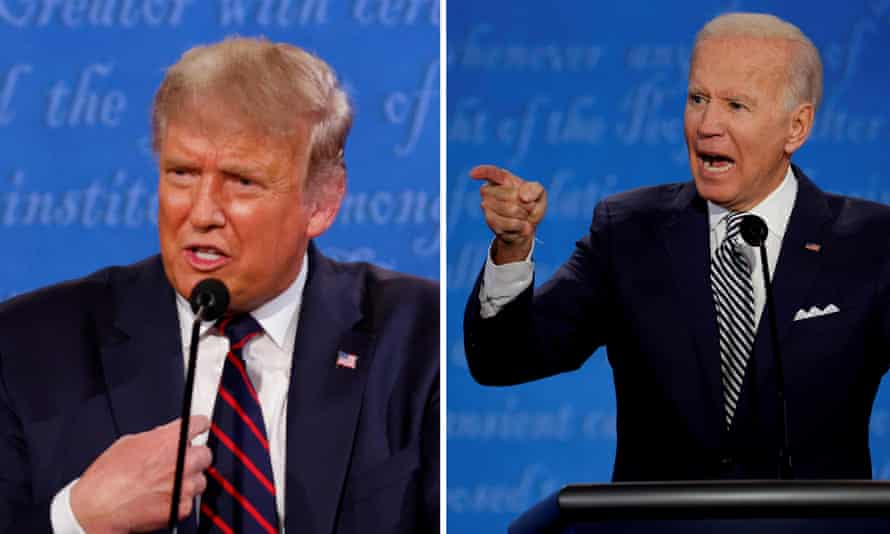US president Donald Trump and Democratic presidential nominee Joe Biden during the first 2020 presidential campaign debate this week.