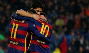 Neymar celebrates with Lionel Messi and Luis Suarez after opening the scoring.
