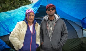 The Wall of Forgotten Natives: Serena and Joachim, who are staying at the makeshift camp.