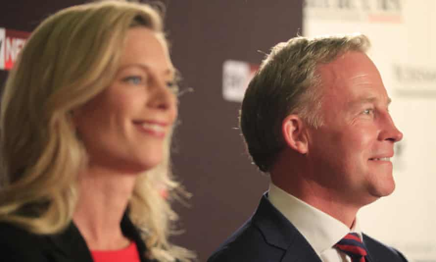 Labor leader Rebecca White premier Will Hodgman at a question and answer forum in Hobart ahead of Saturday's election.