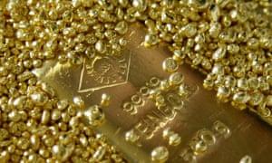 Gold bars and granules.