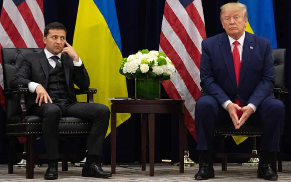 US President Donald Trump (on right) and Ukrainian President Volodymyr Zelenskiy during a meeting in New York on September 25, 2019, on the sidelines of the United Nations General Assembly