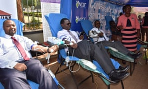 Donors give blood at Constitutional Square in the Ugandan capital, Kampala