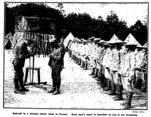 Chinese labour camp roll-call, 20 June 1918