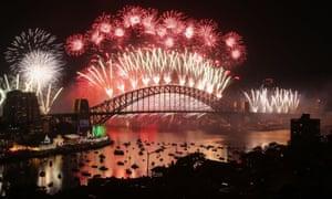 Fireworks explode on New Year's Eve on Sydney Harbour on December 31.