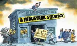 Cartoon of Greg Clark hammering a new sign onto the front of the business department