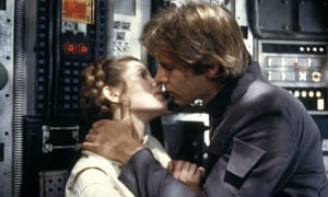 The princess and the scoundrel ... Carrie Fisher as Leia and Harrison Ford as Han Solo in Star Wars: The Empire Strikes Back, 1980.