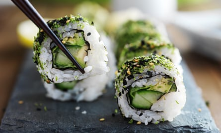kale and avocado sushi roll