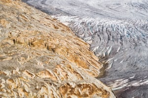 The Rhone glacier is photographed during a visit from the alpine and polar environment research centre.