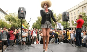 Drag queen Gloria Viagra speaks in front of the Russian Embassy as part of the 'To Russia With Love' Global Kiss-In on September 8, 2013 in Berlin, Germany.