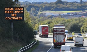 A sign on the M4 motorway near Cardiff in Wales.