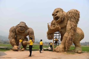 Chiang Mai, Thailand. Students take photos with giant King Kong sculptures made out of straw