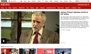 The 2015 Jeremy Corbyn clip, as it appears on the BBC website