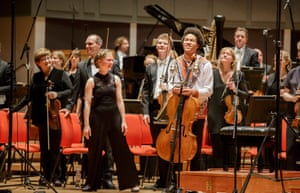 Conductor Mirga Gražinytė-Tyla and cellist Sheku Kanneh-Mason with the CBSO at Symphony Hall, Birmingham