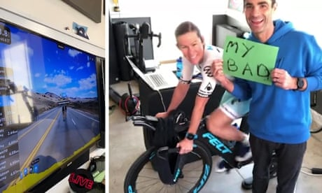 Triathlete's virtual race ended after husband pulls out plug – video report